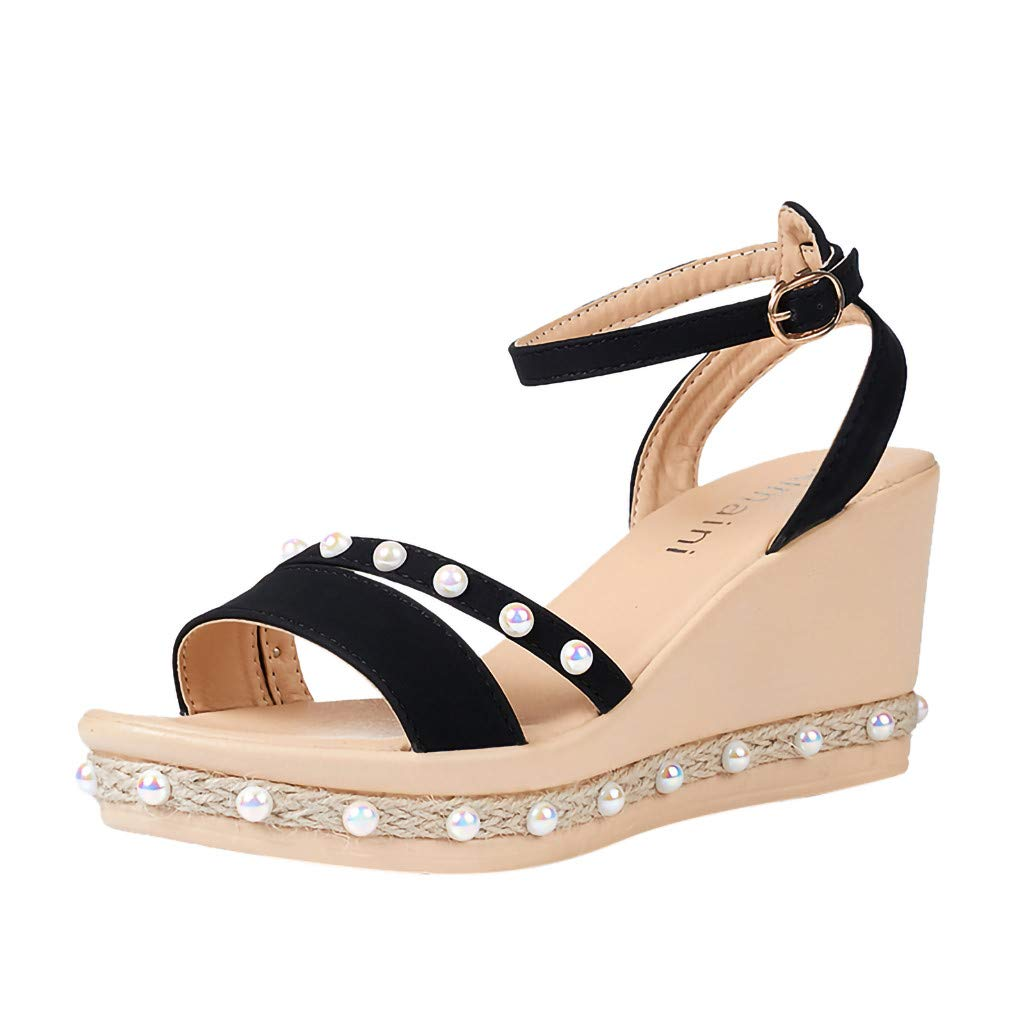 Tsmile Women Sandals Retro Wedge Party Shoes Pearl Weaving Thick Bottom Belt Buckle Roman Casual Beach Sandals