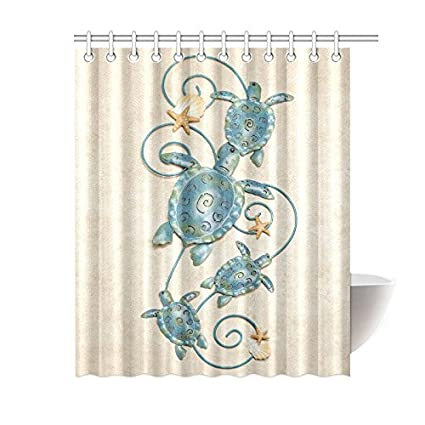 Sea Turtle Waterproof Bathroom Decor Fabric Shower Curtain Polyester 60 X 72 Inches