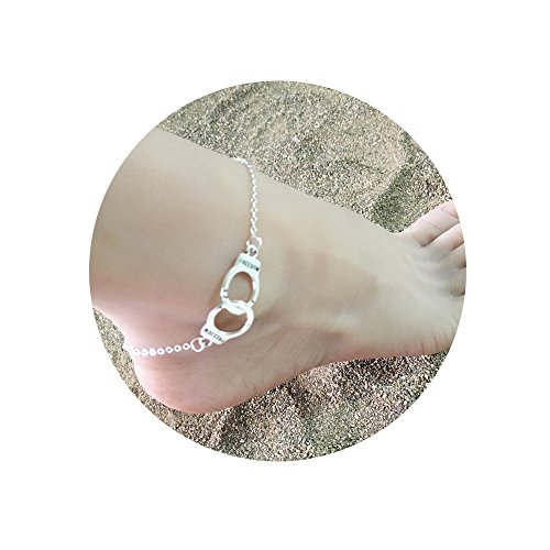MISSU JEWELLRY Love Handcuff Anklet Fashion Women Beach Anklet Summer Jewelry Gift (Silver)