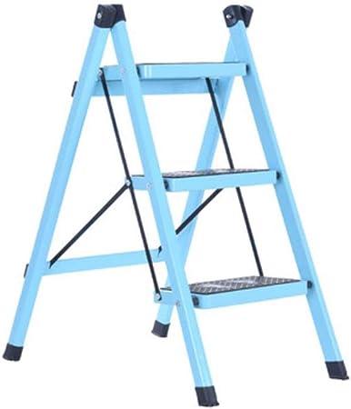 Xsgsgfs Escaleras Plegables peldaños, Escalera de Acero de 3 Pasos - Patas Antideslizantes - Fácil de Guardar Plegable - Ideal para casa/Cocina/Garaje Capacidad máxima de 150 kg (Color : Light Blue): Amazon.es: Hogar