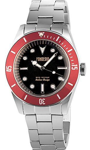 Men's Italian Designed Novecento by Fonderia Black Dial with Red Bezel Stainless Steel Quartz Watch P-7A002UNR