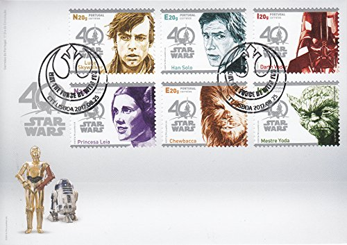 STAR WARS 40th Anniversary Collectible Postage Stamps Set First Day Cover Portugal First Collectible
