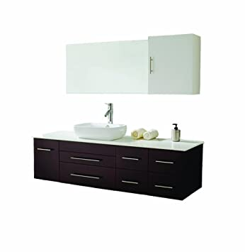 Virtu Usa Justine 59 Inch Single Sink Bathroom Vanity Set In