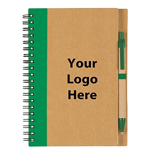 Eco-Inspired Spiral Notebook & Pen - 100 Quantity - $2.25 Each - PROMOTIONAL PRODUCT/BULK/BRANDED with YOUR LOGO/CUSTOMIZED