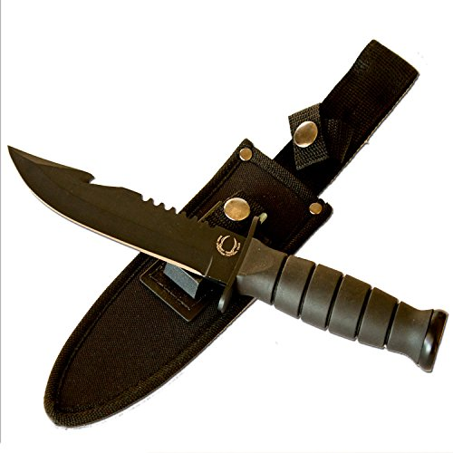 "Best Bowie Hunting Knife - Special Military / Navy Seal Edition - 10.5"" Length & Includes Sheath!"