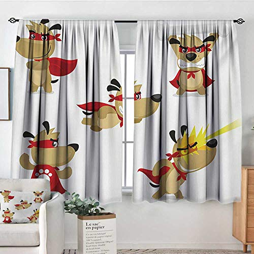 All of better Dog Custom Curtains Superhero Puppy with Paw Costume and Mystic Powers Laser Vision Supreme Talents Patterned Drape for Glass Door 63