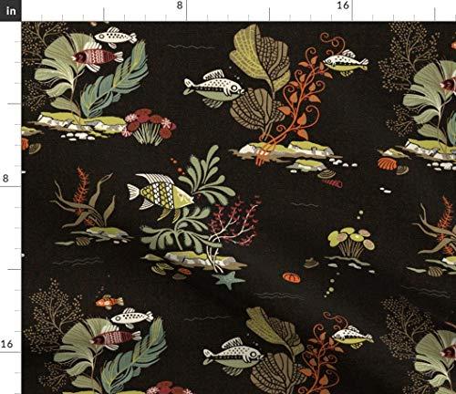 Spoonflower Tropical Fabric - Vintage Tiki Hawaiian Beach Mid Century Ocean by Muhlenkott Printed on Eco Canvas Fabric by The -