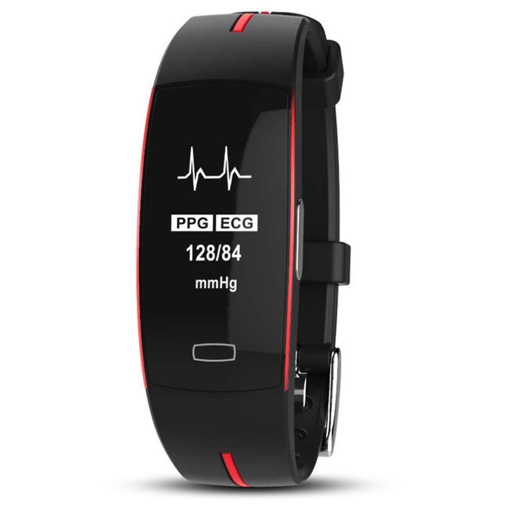 サイクリングとランニングスマートブレスレット血圧心拍数睡眠モニタリングフィットネストラッカービジネスレジャーファッション男性と女性インテリジェントバンド B07PDLQ4X8 Red  Red