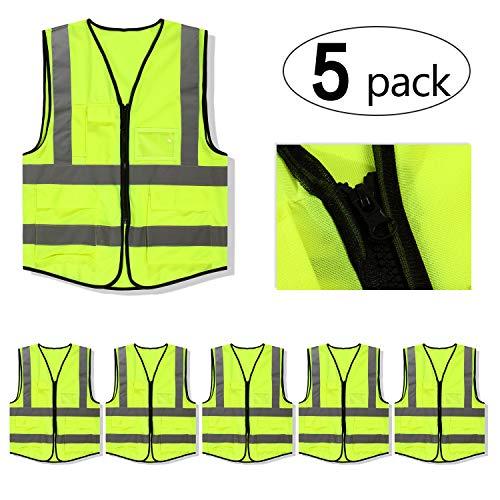 Mount Marter Reflective Safety Vest with 5 Pockets,Reflective Strips,Universal Size,5 Pack -