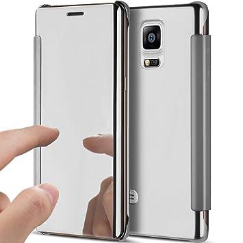 ikasus Carcasa para Samsung Galaxy Note 4, ultra fina, absorción de golpes, diseño de galvanizado, con tapa transparente