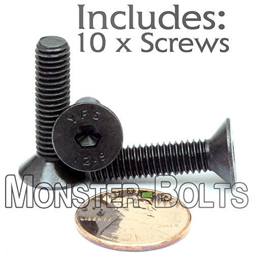 (10) M6-1.00 x 25mm - Flat Head Socket Caps Screws Countersunk DIN 7991 - Class 12.9 Alloy Steel w/Black Oxide - MonsterBolts (10, M6 x 25mm)