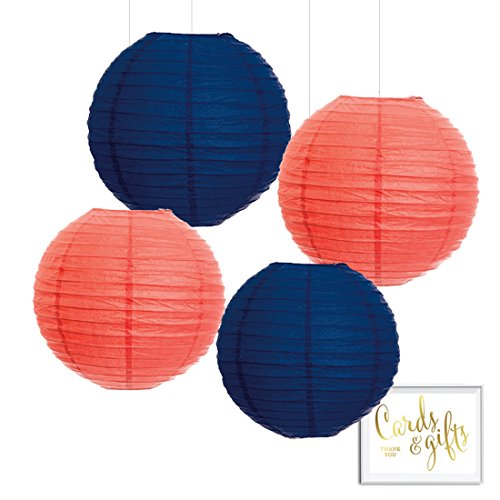 Andaz Press Hanging Paper Lantern Party Decor Trio Kit with Free Party Sign, Coral and Navy Blue, 4-Pack, For Nautical Bridal Shower Wedding Decorations