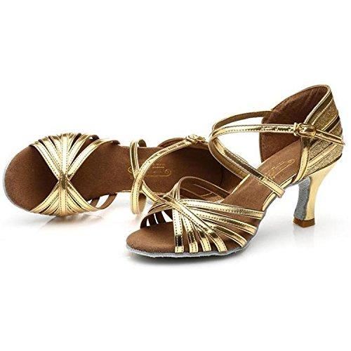 Azbro Mujer Zapatos Latino Correa Hebilla Recorte con Puntera Abierta Dorado