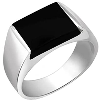 Peora Sterling Silver Rhodium Plated Rectangle Black Onyx Solitaire Wedding Men's Ring PR1044 Rings at amazon