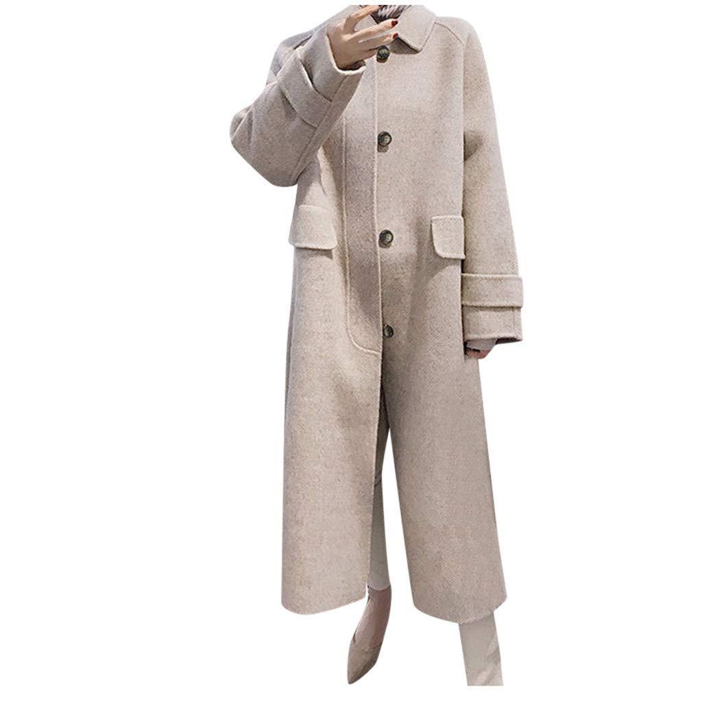 Yanvan Womens Winter Trench Coat Double-Breasted Coats Lapel Wool Coat Trench Jacket Long Sleeve Overcoat Outwear by Yanvan