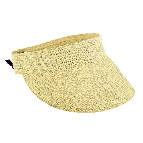 San Diego Hat Company Women's Ultrabraid Tie Back Visor Hat, Natural, OS