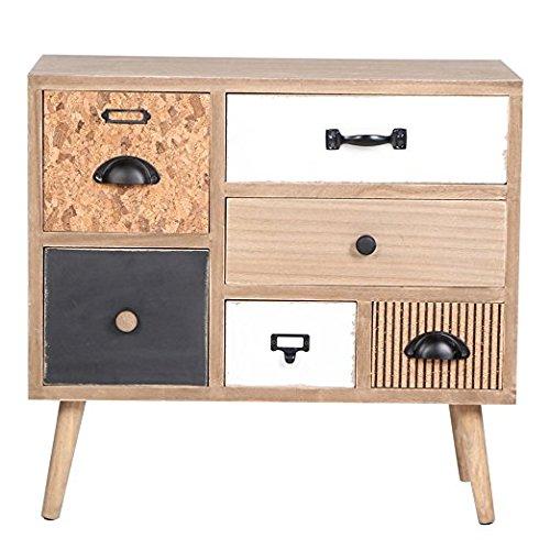 Viva Home Cassettiera in Legno, 60 x 31.5 x 56 cm, Credenza per Salone o Sala da Pranzo, Mobile con 6 cassetti Differenti, Colore Marrone Chiaro