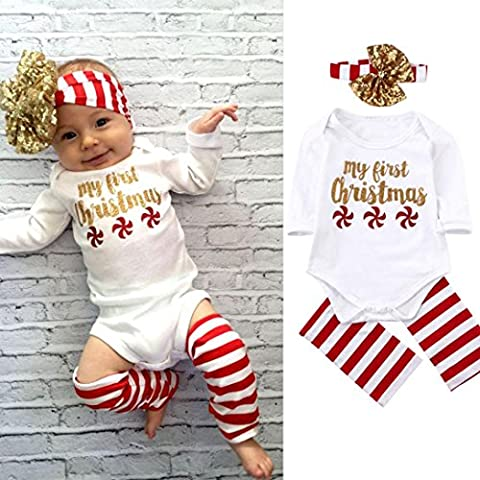 Kemilove Newborn Baby Boy Girl Christmas Romper Jumpsuit Bodysuit + headband + stripe socks (6 months, white)