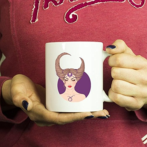 ArtsyMod TAURUS GIRL, ZODIAC SIGN Premium Coffee Mug, PERFECT HOROSCOPE GIFT FOR TAUREAN, APRIL MAY BIRTHDAY WOMAN! Attractive Durable White Ceramic Mug (15oz., Circle Background)