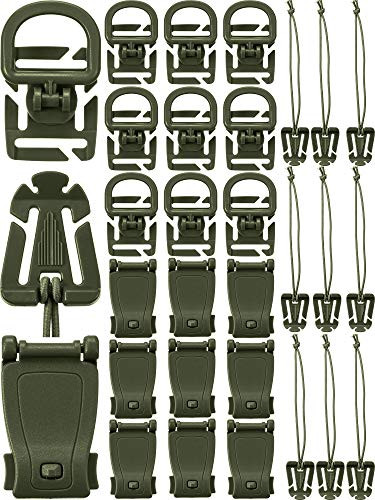 - 30 Pieces Tactical Gear Clip Strap for Molle Backpack Webbing Attachments D Ring Hook Tactical Vest Belt (Style J)