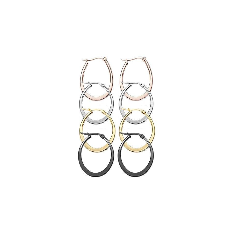 Nicever 40mm 50mm 60mm Stainless Steel Teardrop Hoop Earrings For Women Girls 4 Pairs
