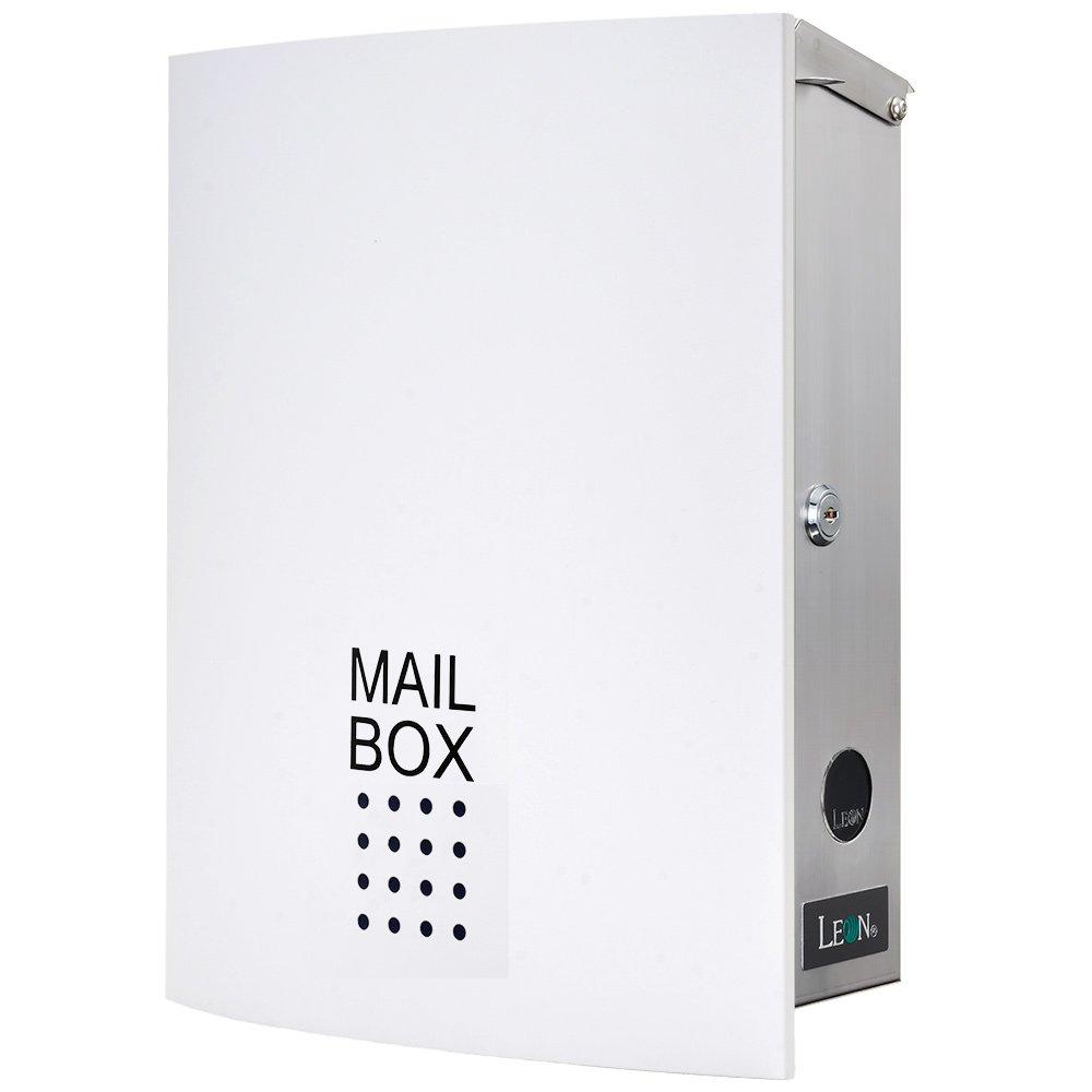 LEON (レオン) MB4504ネオ 郵便ポスト 壁掛けタイプ ステンレス製 鍵付き おしゃれ 大型 ポスト 郵便受け (マグネット付き) ホワイト B079GPS73Q 24624 ホワイト ホワイト