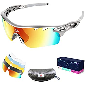AFARER Polarized Sports Sunglasses for men women Outdoor Driving Fishing Cycling Running Golf with 5 Set Interchangeable Lenses TR90 Unbreakable Frame (Gray)