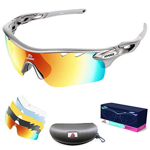AFARER Polarized Sports Sunglasses for men women Outdoor Driving Fishing Cycling Running Golf with 5 Set Interchangeable Lenses TR90 Unbreakable Frame - Unbreakable Spectacles