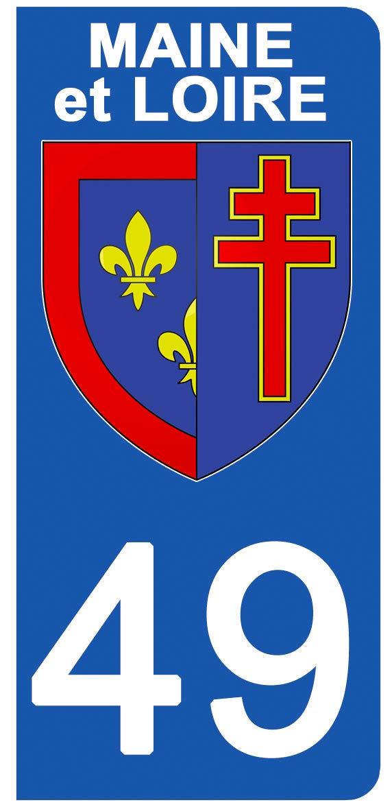Blason Maine ET Loire- Stickers Garanti 1 an DECO-IDEES 2 Stickers pour Plaque dimmatriculation Stickers recouvert dun pelliculage sp/écifique pour Resister aux intemp/éries aux Rayons UV. 49