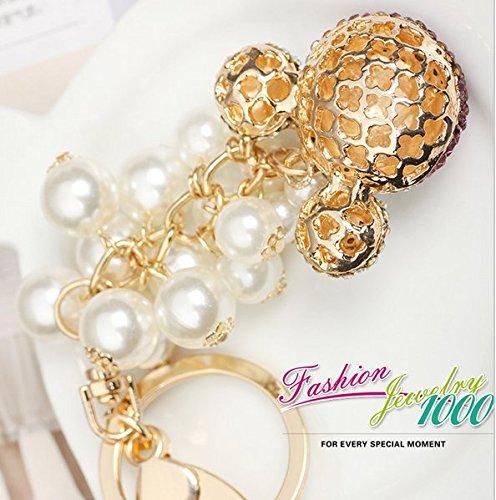 Llavero Mickey Oro Cristal Color Rosa Perlas barroco