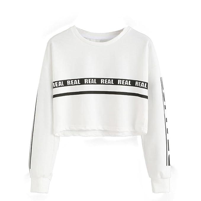 HARRYSTORE 2017 Las mujeres de la moda blanca carta de impresión cosecha Sudadera superior blusa blanca