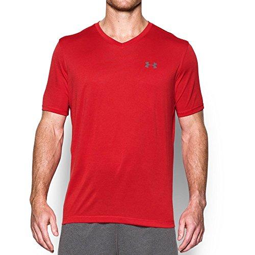 Under Armour Men's Tech V-Neck Short Sleeve T-Shirt, Red/Graphite, Small