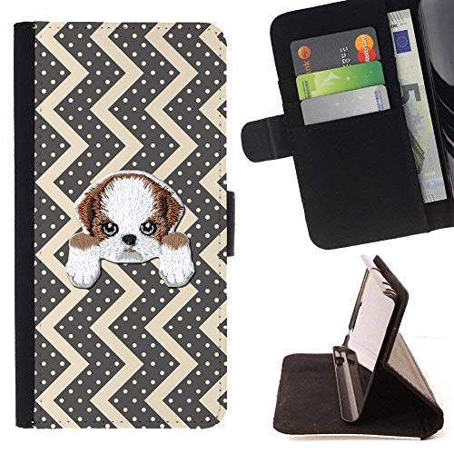 [ Shih TZU ] Embroidered Cute Dog Puppy Leather Wallet Case LG V30 [ Black White Zig Zag Pattern ] ()