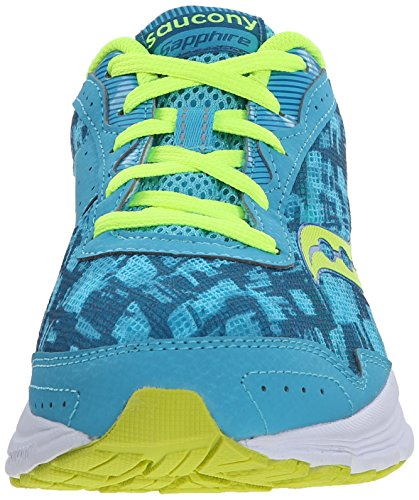 Saucony Girl's Sapphire Running Shoes Blue/White/Lime 40rZr