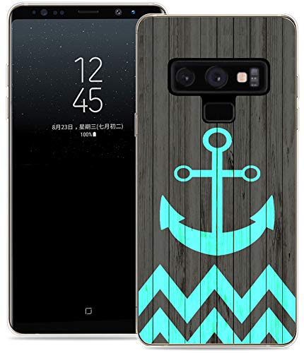 Note 9 Case Design/IWONE Protective Durable TPU Rubber Fashion Designer Cover Skin Compatible for Samsung Note 9 for Galaxy Note9 + Anchor Chevron Print