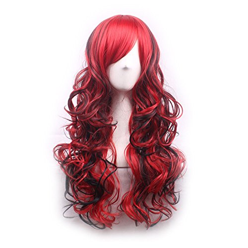 TINYUNICORN Colorful Long Curly Lolita Style Cosplay Wigs for Women with Obligue Band (Mummy King Adult Costume)