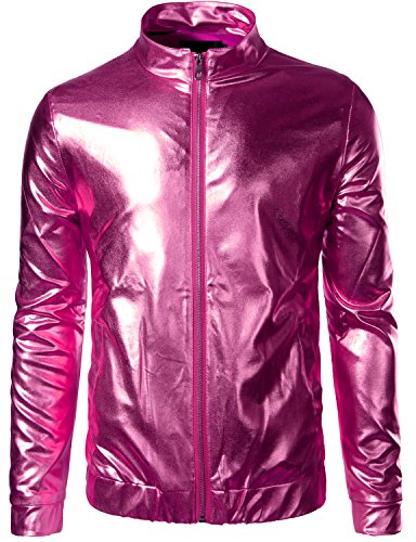 ZEROYAA Mens Unisex Casual Slim Fit Shiny Metallic