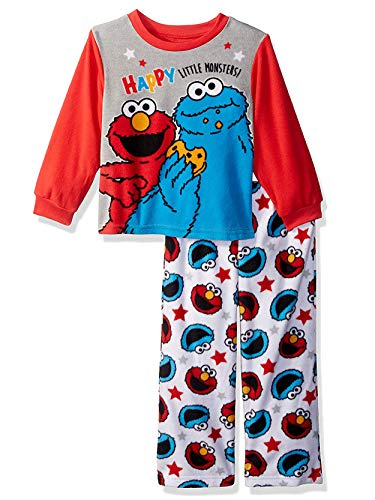 (Sesame Street Elmo Cookie Monster Baby Toddler Boys 2-Piece Fleece Pajamas Set (2T, Grey/Multi) )