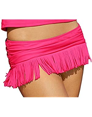 Jessica Simpson Women's Desert Solid Skirted Fringe Bikini Bottom