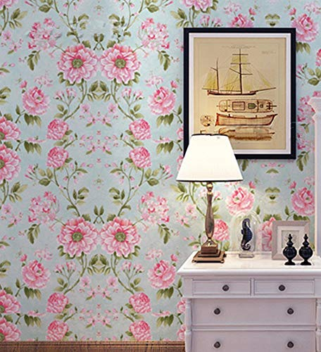 (LIFAVOVY Retro Peony Floral Peel and Stick Wallpaper Decorative Shelf Liner Self Adhesive Contact Paper Removable Waterproof Roll 17.7
