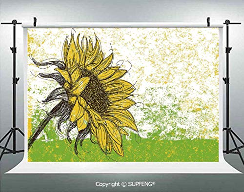 Photo Backdrop Floral Print with Sunflowers in a Fiels Garden Sketchy Abstract Detail Image 3D Backdrops for Interior Decoration Photo Studio -
