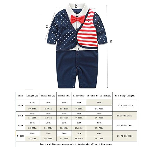 Fairy Baby Newborn Boy's Gentleman Romper Outfit with Bow Tie,0-3M,Two Layered Grid