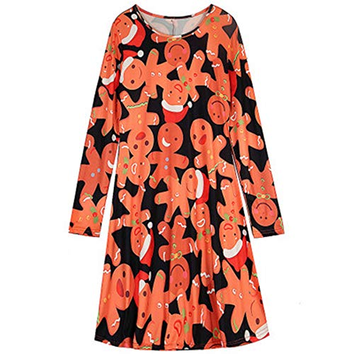 (eleganceoo Funny Gingerbread-Man Dress Women's Halloween Costume Dress(Colorful)