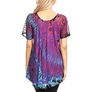 Sakkas 16787 - Splenka Long Tie Dye Embroidered Corset Neck Cap Sleeve Blouse Shirt Top - Purple - OSP