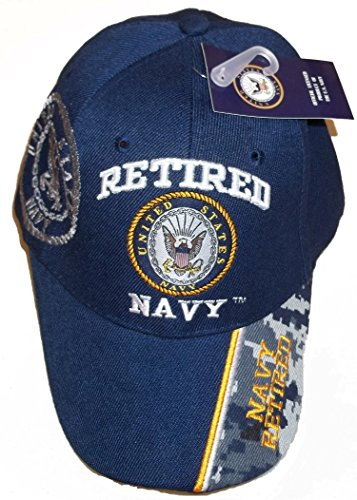 eball Style Embroidered Hat Blue Ball Cap Vet Us Veteran (Navy Retired Ball Cap)