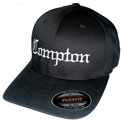 EMBROIDERED COMPTON - FlexFit Baseball Cap Hat - eazy ice dre dj hip hop rap (Eazy E Compton Hat)