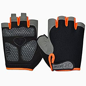 HuwaiH Cycling Gloves Men's/Women's Mountain Bike Gloves Half Finger Biking Gloves | Anti-slip Shock-absorbing Gel Pad Breathable Cycle Gloves (Black Orange, Large(Male))