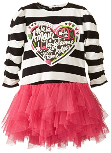 Kate Mack Baby Girls' Long Sleeve Dress with Netting Skirt, Black/Pink, 12 Months