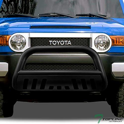 - Topline Autopart Matte Black HD Heavyduty Bull Bar Brush Push Front Bumper Grill Grille Guard w/ Skin Plate 07-14 Toyota FJ Cruiser