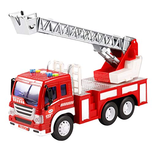 YeahiBaby Rescue Fire Ladder Truck Toy Kids Fire Engine Vehicle Model Toy with - Story Fire Toy Truck
